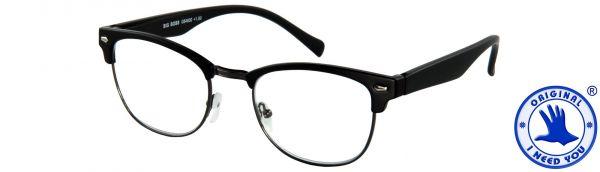 Leesbril Big Boss - Zwart mat met veer - Inclusief een chique bijpassende etui in lederen look