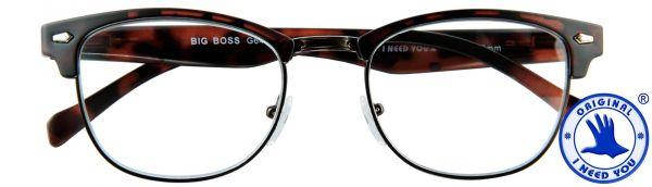 Leesbril Big Boss - Bruin mat met veer - Inclusief een chique bijpassende etui in lederen look